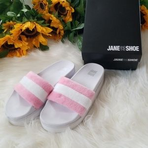 2f552758d43 Jane And The Shoe Jemma Plush Platform Sport Slide